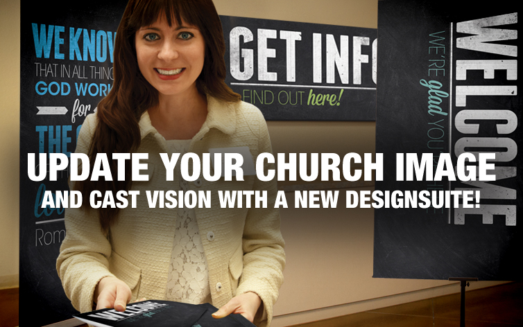 Update your Church with matching banners, bulletins and brochures