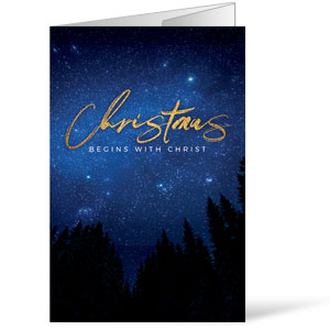 Night Sky Gold Script Christmas Bulletins