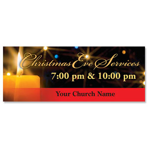 Golden Christmas Candle Banners