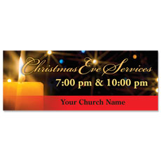 Golden Christmas Candle Banner