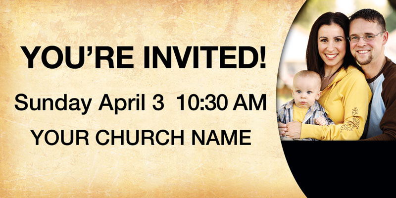 Church banner pastor invitation 4 x 8 outreach marketing
