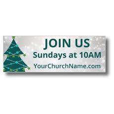 Teal Tree Christmas Banner