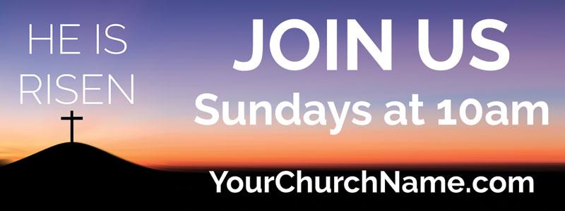 He Is Risen Sunrise Banner - Church Banners - Outreach ...