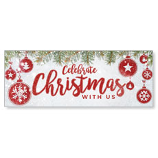 Celebrate Christmas Red Banner