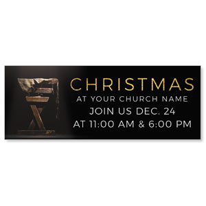 Gold Christmas Manger - 3x8 ImpactBanners