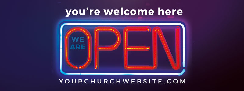 Banners, Welcome Back, Open Neon, 3' x 8'