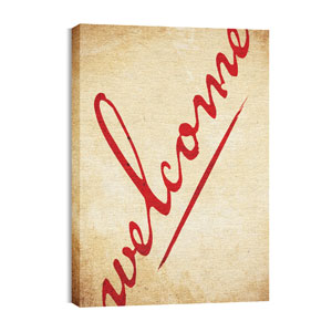 Red Script Welcome Wall Art