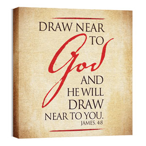 Red Script James 4:8 24 x 24 Canvas Prints