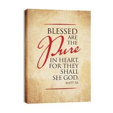 Red Script Matt 5:8 Wall Art