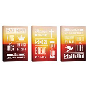 Phrases Trinity Triptych 24in x 36in Canvas Prints