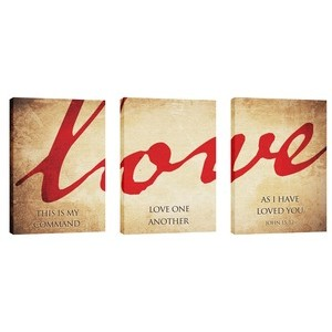 Love Triptych 24in x 36in Canvas Prints