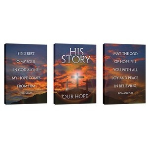 His Story Our Hope Triptych 24in x 36in Canvas Prints