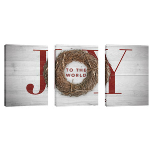Joy Twig Wreath 24in x 36in Canvas Prints