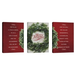 Merry Christmas Wreath Triptych 24in x 36in Canvas Prints