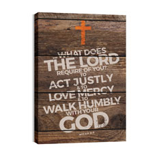 Shiplap Micah 6:8 Natural Wall Art