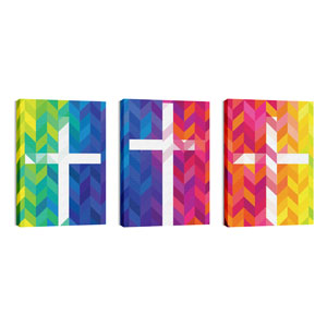 Bright Chevron Crosses Wall Art