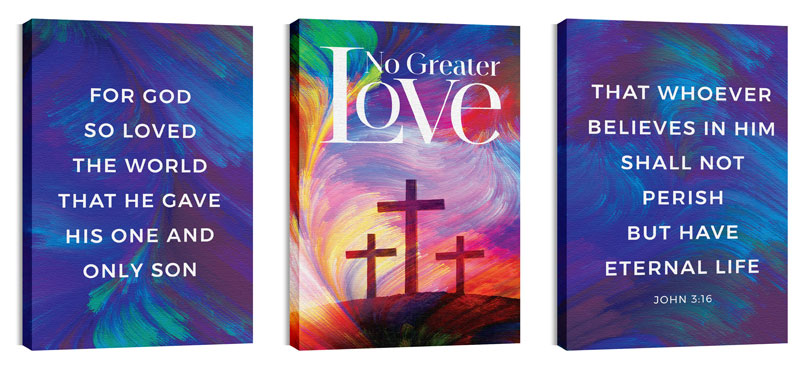 Wall Art, Easter, No Greater Love Triptych, 24 x 36