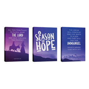 A Season Of Hope Purple Triptych 24in x 36in Canvas Prints