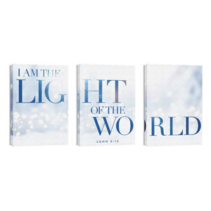 Light Of The World Sparkle Triptych 24in x 36in Canvas Prints