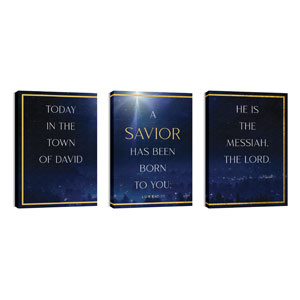Christmas Together Night Triptych 24in x 36in Canvas Prints