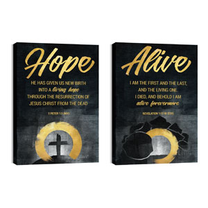Hope Is Alive Gold Pair 24in x 36in Canvas Prints