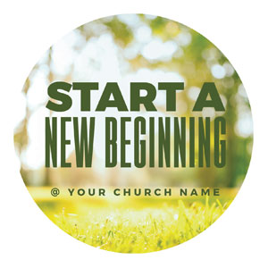 Start New Beginning Green Circle InviteCards