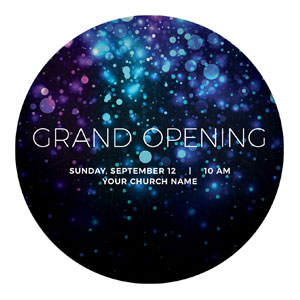Grand Opening Shimmer Circle InviteCards