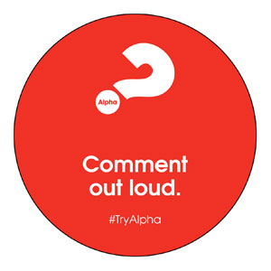 Alpha Comment Out Loud Red Circle InviteCards
