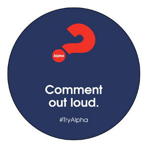 Alpha Comment Out Loud Navy Circle InviteCards