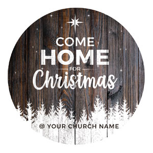 Dark Wood Christmas Come Home Circle InviteCards