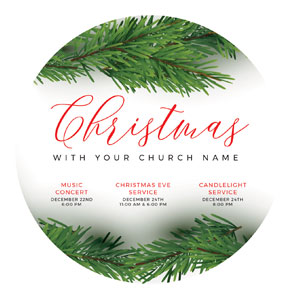 Christmas Boughs Circle InviteCards