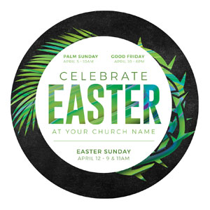 Easter Palm Crown Circle InviteCards