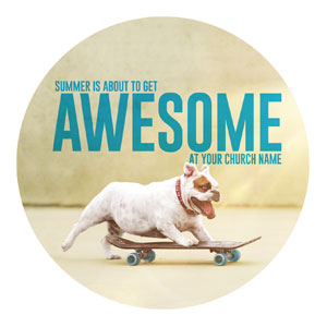 Awesome Summer Dog Circle InviteCards