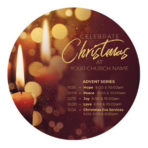 Celebrate Christmas Candles Circle InviteCards