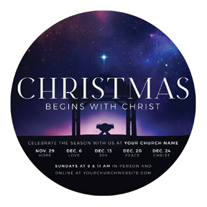 Begins With Christ Manger Circle InviteCards