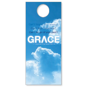 Church Door Hanger Learn Grace Outreach Marketing