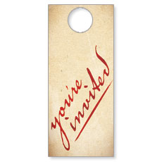Red Script Welcome Door Hanger