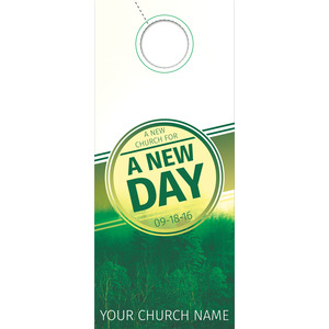 Green New Day Church Door Hangers