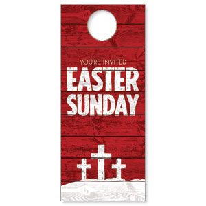 Easter Wood Red Door Hangers