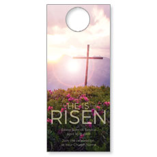 He Is Risen Mountain Door Hanger