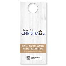 UMC Christmas White Wood Door Hanger