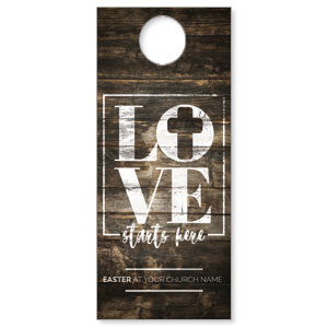 Love Starts Here Wood Door Hangers