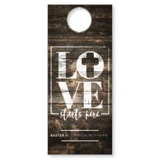 Love Starts Here Wood Door Hanger