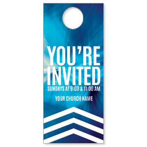 Chevron Welcome Blue DoorHangers