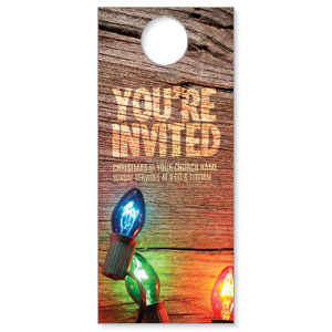 Invited Christmas Lights Door Hangers