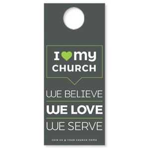ILMC Believe Love Serve Door Hangers