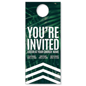 Chevron Palm Invited DoorHangers