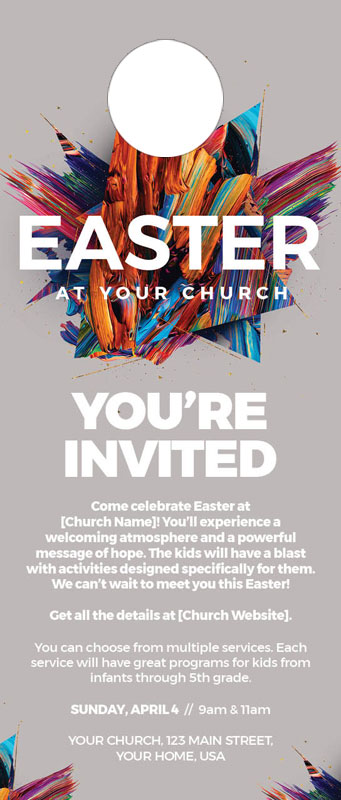 Door Hangers, You're Invited, CMU Easter Invite 2021 Grey, Standard size 3.625 x 8.5, with 3 per 8.5 x 11 sheet
