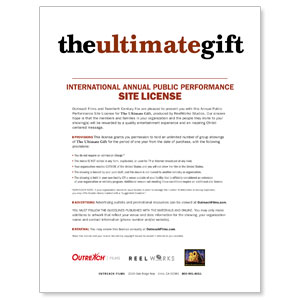 The Ultimate Gift International License DVD License International