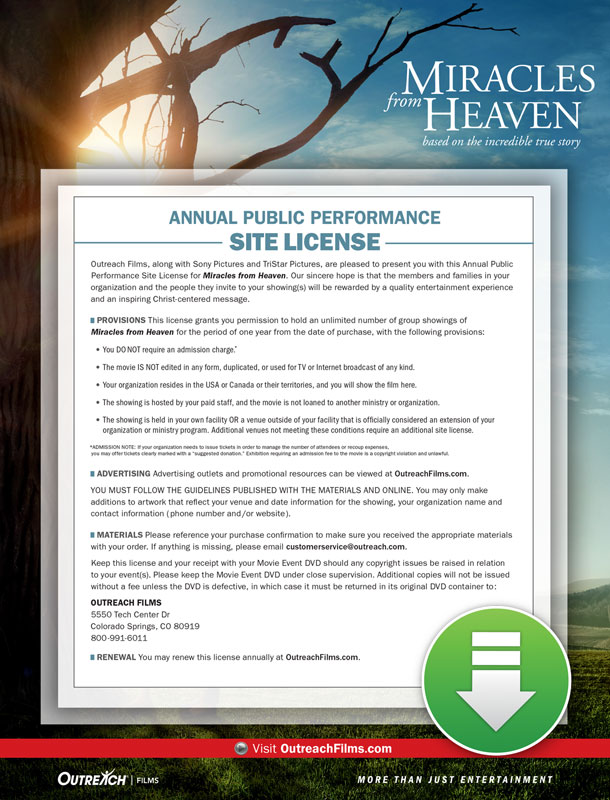 Movie License Packages, Miracles from Heaven, Miracles From Heaven Digital License Standard, 100 - 1,000 people  (Standard)